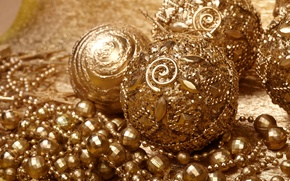 Картинка шары, игрушки, Новый Год, Рождество, бусы, декорации, Christmas, золотые, праздники, New Year, елочные