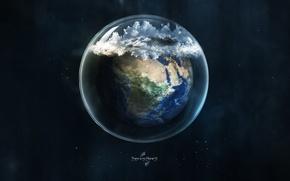 Обои стекло, земля, планета, шар