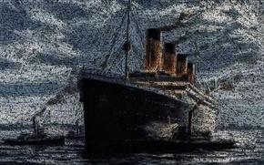 Картинка Рисунок, Лайнер, Титаник, Судно, Titanic, Буксиры, Пассажирское судно, RMS Titanic, на Ходу, Имена