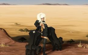 Картинка песок, девушка, металл, оружие, пустыня, чулки, руки, арт, black rock shooter