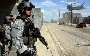 Обои soldier, M1A1, действия, боевые, солдат, вертолет, USA