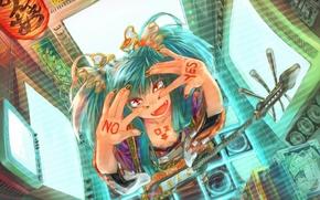 Картинка девушка, провода, гитара, vocaloid, hatsune miku, монироты