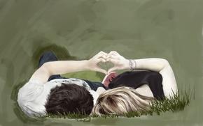Картинка трава, девушка, любовь, сердце, руки, арт, пара, парень, живопись, лежат