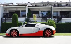 Картинка белый, красный, Bugatti, veyron, суперкар, red, white, отель, supercar, бугатти, hotel, вейрон, grand sport, vitesse