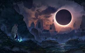 Обои пейзаж, река, скалы, затмение, девушка, ночь, Mononoke Hime, Princess Mononoke, луна, Принцесса Мононоке, горы, духи, ...