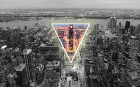 Картинка город, треугольник, 3 угла