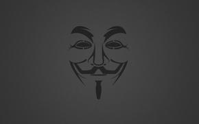 Картинка Минимализм, Фон, Маска, Anonymous, Анонимус, Гай Фокс, Зернистый