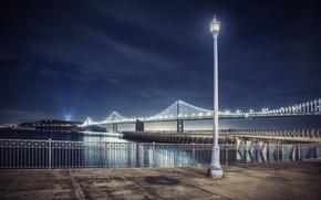 Картинка ночь, огни, лампа, Калифорния, Bay Bridge, Сан - Франциско