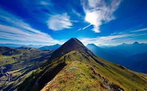 Картинка небо, облака, горы, Италия, солнечно
