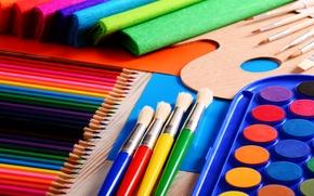 Картинка цвета, краски, яркие, карандаши, разноцветные, кисточки