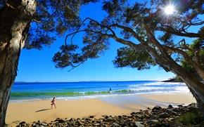 Картинка море, пляж, девушка, солнце