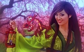 Картинка dragon, Walt Disney, фанарт, принцесса, fanart, girl, девушка, Мулан, сакура, цветение, animated film, princess, Уолт ...