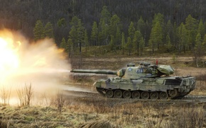 Обои танк, залп, Leopard1