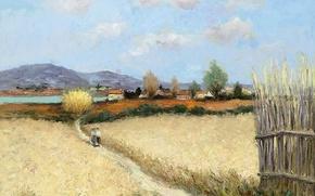 Картинка дорога, поле, пейзаж, горы, люди, дома, картина, тропинка, Марсель Диф, Речной берег в Провансе