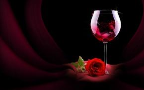 Обои бокал, цветок, роза, вино, красная