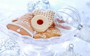 Картинка печенье, ваза, новогодние игрушки