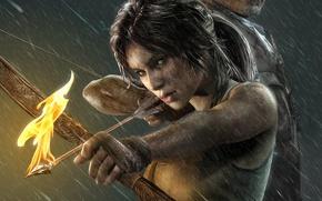 Картинка девушка, дождь, огонь, игра, стрела, Tomb Raider, girl, game, Лара Крофт