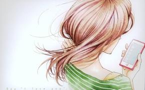 Картинка телефон, рыжая, серый фон, плечи, мобильный, со спины, Say i love you, Megumi Kitagawa, by …