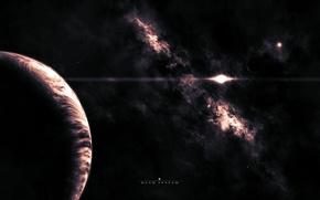 Картинка туманность, пространство, планета, спутник, dead system