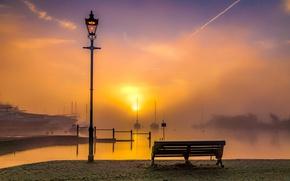 Картинка море, скамейка, восход, рассвет, Англия, яхты, утро, порт, фонарь, набережная, гавань, England, Ла-Манш, English Channel, …