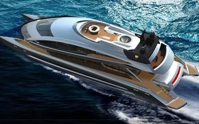 Картинка море, яхта, катамаран, моторная