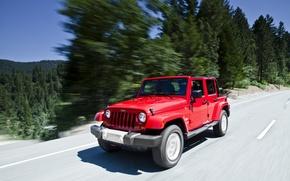 Картинка Красный, Дорога, Sahara, Wrangler, Jeep, Unlimited, Сахара