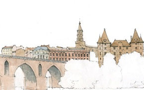 Картинка деревья, мост, город, рисунок, Франция, Монтобан, Тарн и Гаронна