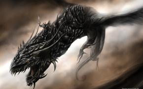 Картинка тьма, дракон, крылья, монстр