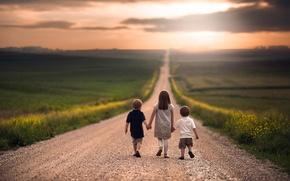 Картинка дорога, дети, путь, простор, девочка, мальчики