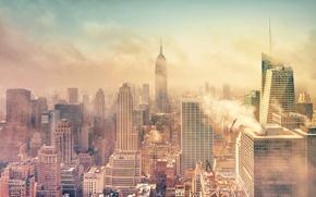 Обои дым, Нью-Йорк, Манхэттен, Manhattan, смог