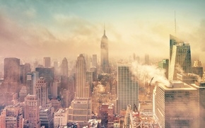 Картинка дым, Нью-Йорк, Манхэттен, Manhattan, смог