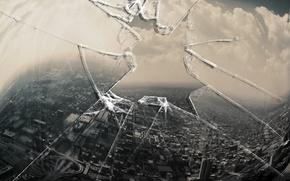 Обои стекло, разбитое, окно, дыра, монитор, город