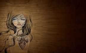 Картинка девушка, сердце, рисунок, арт, Стиль, creative