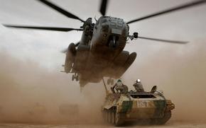 Обои солдаты, вертолет, танк, Helicopter