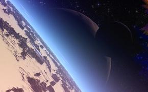 Обои планета, звезды, горы