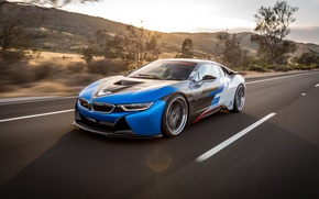 Обои bmw i8, car, tuning, vorsteiner, в движении