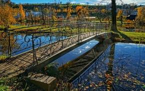 Картинка Швейцария, парк, мостик, ручей, кантон Цюрих, осень