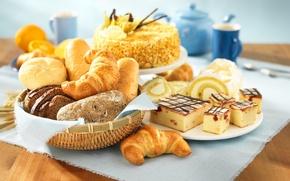 Картинка хлеб, пирог, торт, бисквит, булочки, круассаны
