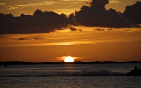Картинка море, пляж, небо, вода, солнце, облака, природа, океан, рассвет, сумрак, Восход, beach, sky, sea, ocean, ...
