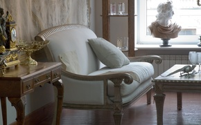 Картинка стиль, стол, комната, настроение, интерьер, диванчик, бюст