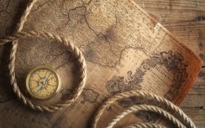 Картинка стол, карта, компас, верёвка