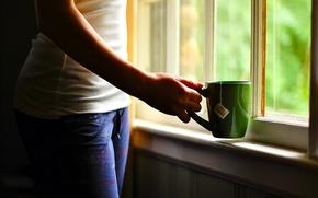 Картинка дом, рука, окно, чашка