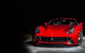 Картинка Феррари, Ferrari, Red, Фары, Парковка, Front, Суперкар, Перед, Parking, Supercar, Берлинетта, Berlinetta, F12, Headlight, Kahn …