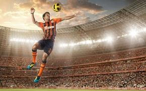 Картинка прыжок, мяч, стадион, ФК Шахтёр, Эдуардо