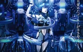 Картинка девушка, фантастика, провода, киборг, киберпанк, cyberpunk, Ghost in the Shell, Motoko Kusanagi, Мотоко Кусанаги, Призрак …