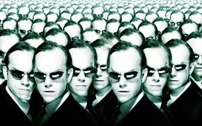 Картинка очки, матрица, головы, много, Агент Смит, The Matrix