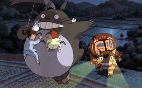 Картинка ночь, поля, существо, зонт, прогулка, грядки, мой сосед тоторо, art, хаяо миядзаки, tonari no totoro, …