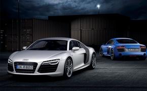 Картинка Audi, Ночь, Синий, Белый, V10, Контейнеры, Спорткар, Два, Plusx