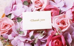 Картинка цветы, розы, букет, flowers, спасибо, bouquet, roses, открытки, thank you, card