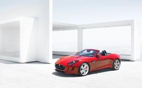 Картинка красный, Jaguar, Авто, Кабриолет, передок, Спорткар, F-type, Ftype